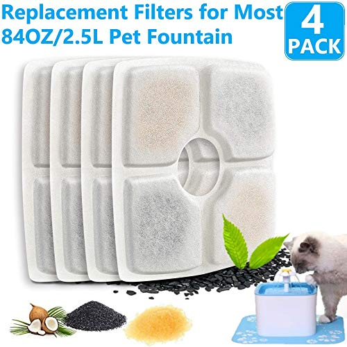 FASOON Pet Fountain Filters, Replacement Filters for Cat and Dog Drinking Flower Fountain, Cat Water Fountain Dog Water Dispenser, Square Filters
