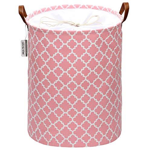 Sea Team - Cesto lavandería con diseño celosía marroquí, cesto lavandería Tela Lona, contenedor Almacenamiento Plegable con Asas Cuero sintético y Cierre de cordón, 45 x 35 cm, Interior Impermeable