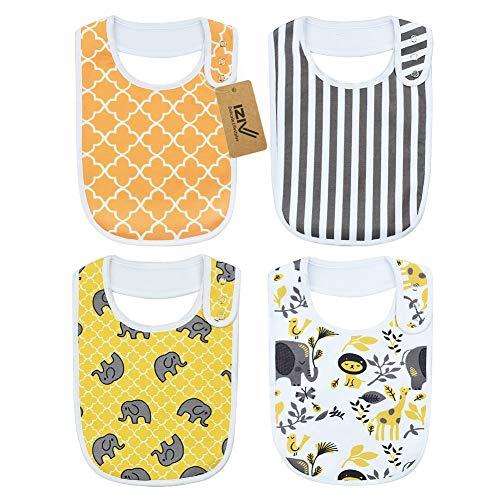 IZiv Baberos Bebé - Paquete 4 Diseños Pañuelo Snaps
