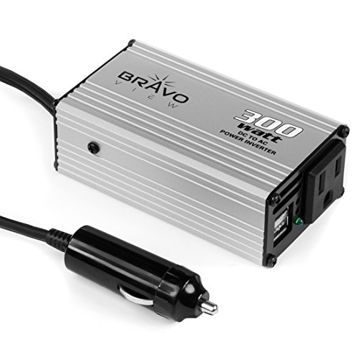 Bravo View 150W Continuous 300W Peak Power Inverter, DC 12V to 110V AC Car Inverter with 1 AC Outlet and 2 USB Charging Ports (INV-300U)