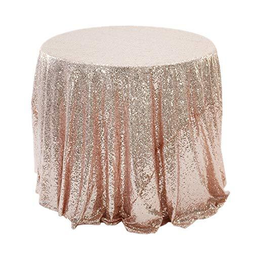 JINZFJG-SX Mantel rectangular de lentejuelas con purpurina, redondo, color oro rosa, plata, falda de mesa redonda para decoración de bodas, fiestas, Navidad