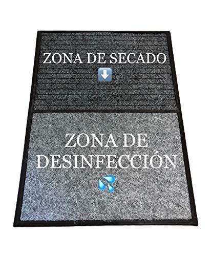 TIENDA EURASIA® Felpudo - Alfombra Desinfectante Calzado para la Entrada - 3 en 1 - Base de Caucho con 2 Divisiones + 2 Moquetas (Desinfección - Secado) - 60x80 CM - Fabricado en España (Gris)
