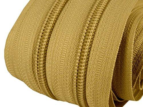 Schnoschi 2 m endlos Reißverschluss 5 mm Laufschiene + 5 Zipper Meterware teilbar Farbwahl (Gold)
