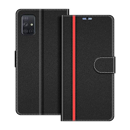 COODIO Handyhülle für Samsung Galaxy A71 Handy Hülle, Samsung Galaxy A71 Hülle Leder Handytasche für Samsung Galaxy A71 Klapphülle Tasche, Schwarz/Rot
