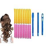 Magic Hair Curlers Spiral Curls Styling Kit, 20 Keine Wärme Lockenwickler und 3 Styling Haken, for extralange Haar bis zu 22 Zoll (55 cm) lang