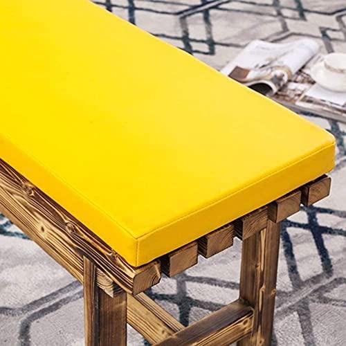 Cojín de banco al aire libre, cojín rectangular de patio, cojín de silla larga de poliuretano resistente al agua sostenible con lazos no deslizantes para exteriores y hogar-amarillo