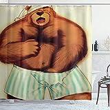 DYCBNESS Cortina de Ducha,Gay Pride LGBT Bear Tema Divertido del sueño,Material Resistente al Agua Durable Estampa Digital Cortina de Baño Impermeable,180 x 180 cm