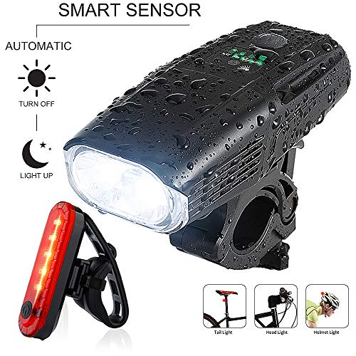 Yosky USB Rechargeable Bike Light Set - 1000 Lumens Smart Led Bicycle Headlight Free Tail Light - Super Bright Bike Light Front and Rear - 4 Light Mode Safety Commuter Cycling Light for All Bikes