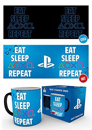 GB Eye MGH0071 Playstation Eat Sleep Repeat Thermobecher – Schwarz