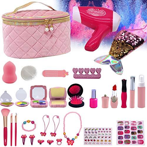 Makeup Kit Toys Set for Girls , 31 Pcs Kids Fake Pretend Makeup Toys with Toys Eyeshdow Lipstick Brush Bag Hair Dryer Princess Birthday Gifts for 3 4 5 Kids Grils