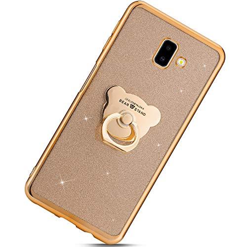 Urhause Kompatibel mit Samsung Galaxy J6 Plus 2018,Ultra Slim Soft Bling Glitzer Schutzhülle Überzug TPU Silikon Backcover Handyhülle mit Bär Ring Stand Holder Case hülle,Gold