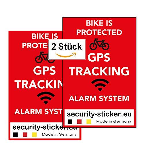 Security Sticker GPS Alarm Aufkleber Fahrrad (2 Stück, Warnaufkleber, Premium Qualität, 60 mm x 40 mm rot) gegen Fahrraddiebstahl