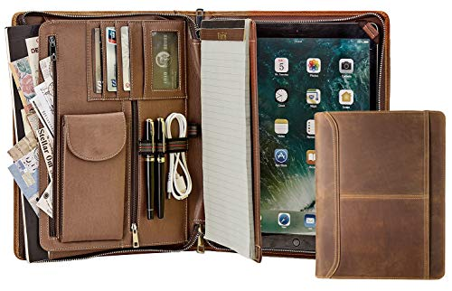 AZXCG Handmade Padfolio, Crazy-Horse Leather Portfolio with Zipper, Multi-Function Business case (iPad Pro 12.9 (2017), Brown) (for iPad Pro 12.9 (2017), Brown)