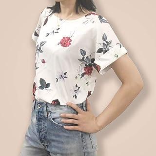 Yi'er Brand Pretty Girl Fashion Rose Print Scroll Cuff Shirt