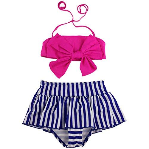 Jastore Baby Girls Big Bowknot Stripe 2 Pieces Swimwear Swimsuits Beach Wear (2T, Rose)