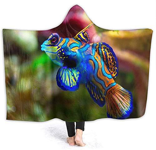 Impresionante papel tapiz de peces Sudadera con capucha para usar Manta de lana Manta de cama con capucha Sofá reversible Sofá Manta de capa difusa Alfombra de playa plegable para el hogar, 60 'x 50'