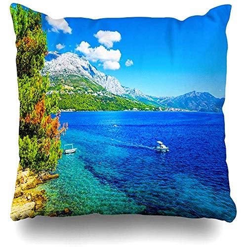 AmyNovelty Berg Blue Beach Sea Bay Mediterrane Natur Albufeira Parks Cliff Coast Corfu Island Modische Kissenbezüge gegen Nackenschmerzen,45x45cm