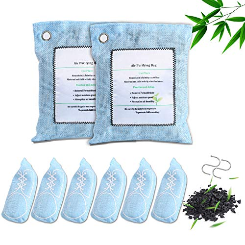 Save %30 Now! 8-Pack Green Bamboo Charcoal Bag, Activated Charcoal Odor Remover Air Freshener Eco-fr...