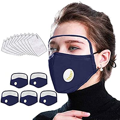 Heroky Reusable Face Màsc with Eyes Shield, Adults Face Bandanas, Outdoor Dustproof Mouth Protective with Breathing Valve (5pcs Navy-1, 10filters)