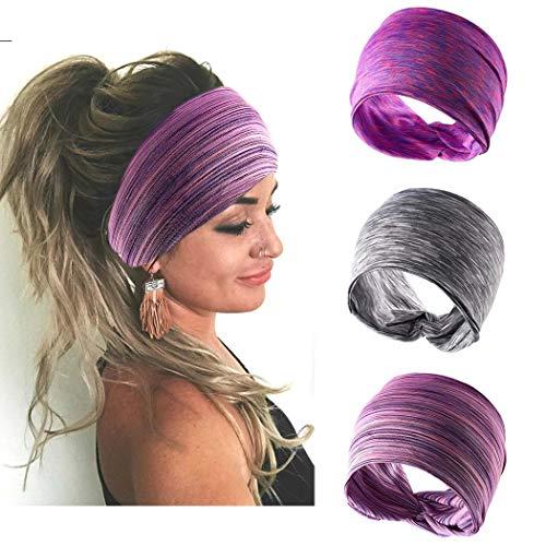 Handcess - Diademas para el cabello con turbante ancho, color gris para yoga, bandas elásticas para la cabeza para mujeres y niñas (3 unidades)