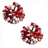 Bstgifts 2 Pack Cheerleading Pompoms, Metallic Foil & Plastic Ring Pom Poms for Cheer, Dance Team (Red+Silver)