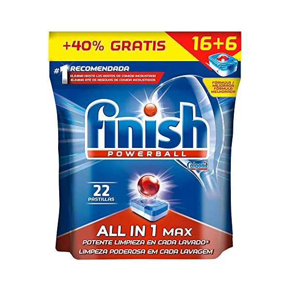 Finish Powerball All in 1 Max – Pastillas para el lavavajillas todo en 1 – formato 22 unidades