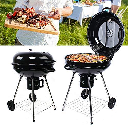 Parrilla redonda de 56 cm de diámetro, para carbón vegetal, para barbacoa, camping, jardín, balcón, etc.