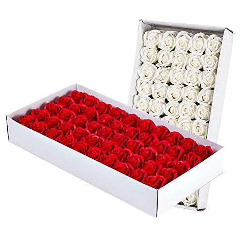 Kamena Lot de 100 savons de bain parfumés aux pétales de rose, huile essentielle végétale, savon de bain en forme de pétales de rose, cadeaux de fête de mariage, 50 blancs et 50 grands rouges
