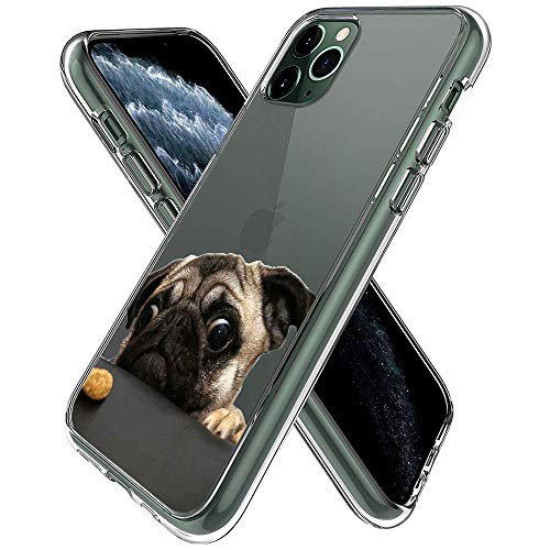 YueNew Personalized Pug Dog Case for iPhone 11 Pro Max Phone Cover Clear Silicone Protective Case for iPhone 11 Pro Max (Pug Dog)