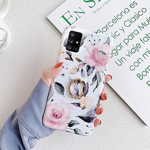 Uposao Kompatibel mit Samsung Galaxy A71 Hülle mit 360 Grad Ring Ständer Blumen Blätter Muster Silikon Ultra Dünn TPU Bumper Case Kratzfest Durchsichtige Schutzhülle Case,Pink Blume
