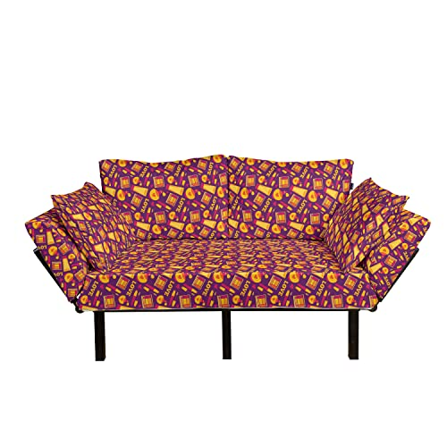 Lunarable Feminine Futon Couch, Makeup Perfume Bottles Eyelashes Eyeshadows Pattern and Love Wording, Daybed with Metal Frame Upholstered Sofa for Living Dorm, Loveseat, Purple Mustard Magenta