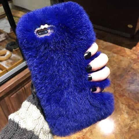 VHR Fundas Funda De Algodón De Lujo para iPhone 8 7 6 6S Plus Se 5 5S Funda De Moda Bling Winter Funda De Algodón Suave para El Teléfono, Azul, para iPhone 8