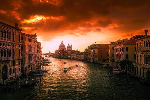 HQHff Venecia Canal Agua Barco Atardecer anochecer,Puzzles Adultos 1000 Piezas 75x50cm,3D Puzzles de Madera Adultos Regalo de Juguete Educativo para niños