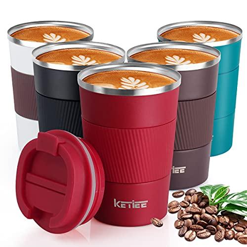 KETIEE Kaffeebecher to go,380ml Thermobecher Edelstahl,Kaffeebecher Thermo,Doppelwandig Reisebecher Travel Mug,Vakuum Isolierbecher mit auslaufsicherem Deckel für Kaffee und Tee,Rot