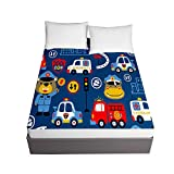 Chickwin Cartoons Printing Fitted Sheets for Twin Full Queen King Bed, Child Bedding Sheets Deep Pocket 30cm - Soft Microfibre Shrinkage Fade Resistant Easy Care (Blue fire Truck,120x200x30cm)