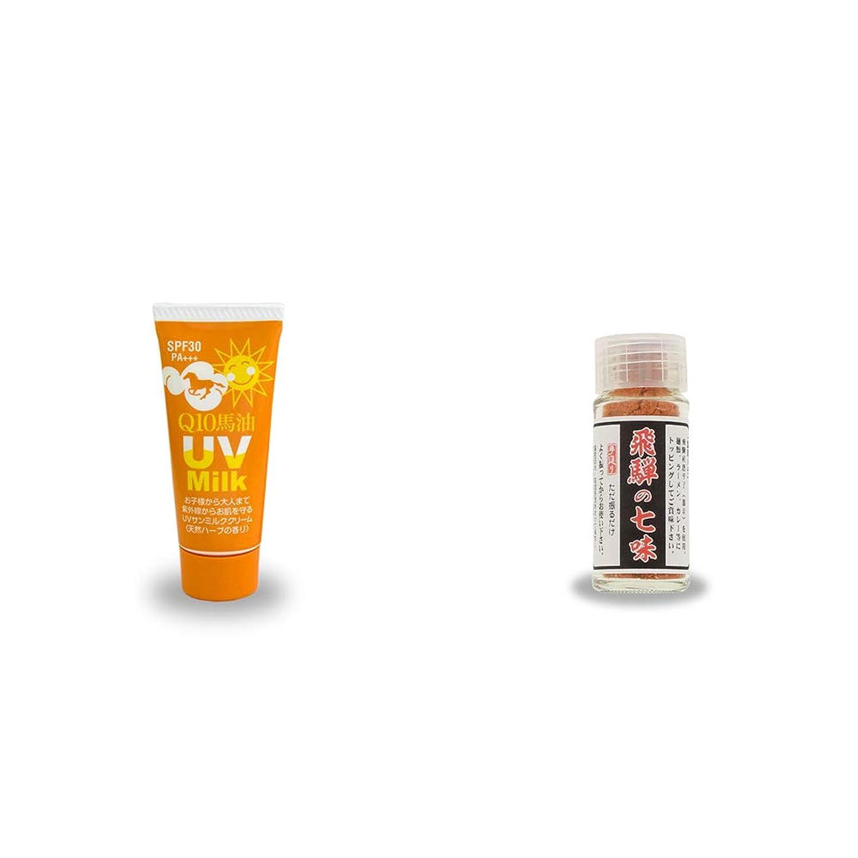 分離熱心蜂[2点セット] 炭黒泉 Q10馬油 UVサンミルク[天然ハーブ](40g)?手造り 飛騨の七味(15g)