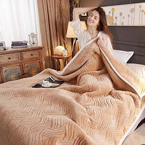 Ericcay Dicke Winter Decke Decke Coral Casual Chic Fleece Decke Decke Decke Blätter Büro Nap Doppelte Decke Studenten 150 * 200 cm Kamel (Color : Camel, Size : 180 * 200Cm)