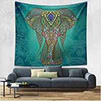 Singyico Indian Elephant Tapestry, Hippie Tapestries, Tapestry Wall Hanging, Indian Black & White Tapestry, Bohemian Dorm Decor Mandala Tapestries (150130CM(6051inch, E-Green)