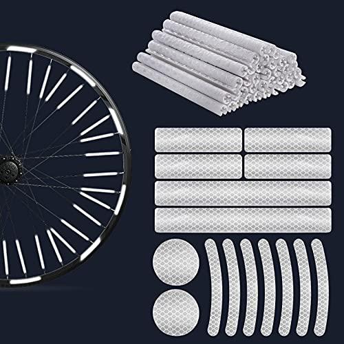Qiaonato Juego de 42 reflectores para radios de bicicleta, visibilidad de 360°, incluye pegatinas reflectoras y pegatinas, montaje fácil, ideal para llantas de 27, 28 y 29 pulgadas, color plateado