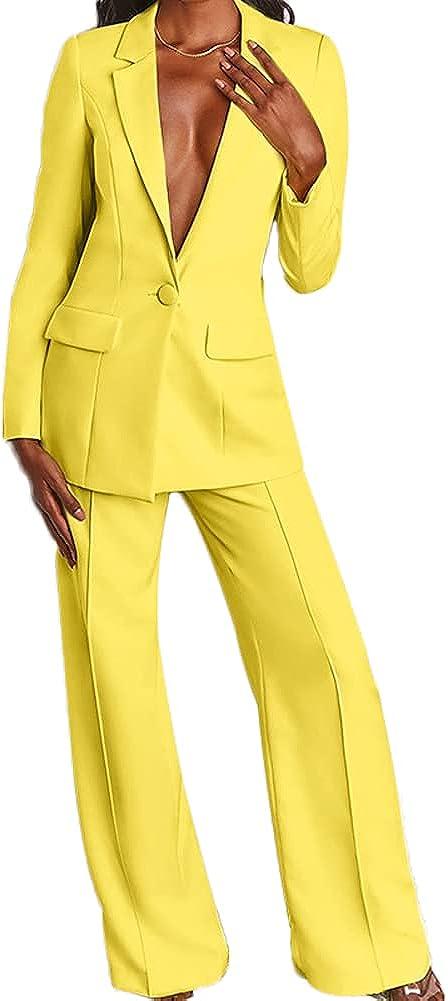 Women 2 PC Pant Suits Blazer Set Ladies Office Suits Wedding Party Suits