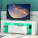 Keebgyy Mueble moderno de alto brillo para TV con luz LED, mueble de TV de 51 pulgadas con estantes y cajones para almacenamiento de medios, color blanco
