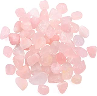 Hilitchi 1lb Bulk Large Natural Tumbled Polished Brazilian Stones Gemstone Healing Crystals Quartz for Wicca, Reiki, and Energy Crystal Healing (Rose Quartz About 1lb/450g/16oz/bag)