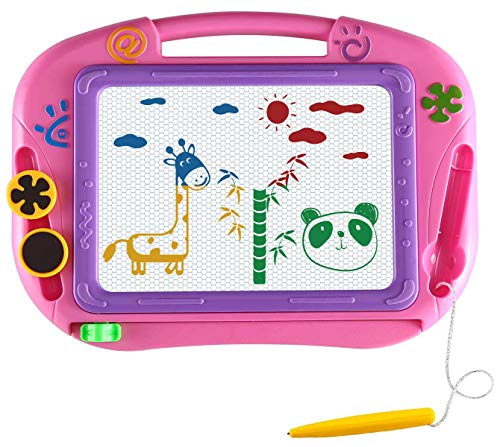 Magnetic Drawing Board Gifts for Toddlers,Cute Travel Size Magna Doodle Board Learning and Writing Education Toys for Kids.A Etch Toddler Sketch Pad Great Holiday Birthday Gifts 3 4 Year Old Girl Boy