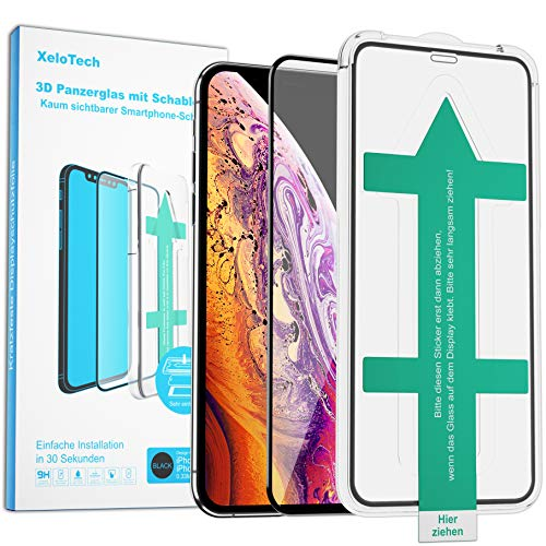 XeloTech Premium 3D Schutzglas kompatibel mit iPhone 11 Pro (5.8 Zoll) & Xs & X Vollglas mit Schablone - Kompatibel mit Hülle und Hülle - Panzerglasfolie Mit Randschutz