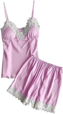 be35c341c37b7 Fankle Womens Pyjamas Set Sexy Lace Trim Satin Sale Sleepwear Babydoll  Nightwear Sale Cami and Shorts