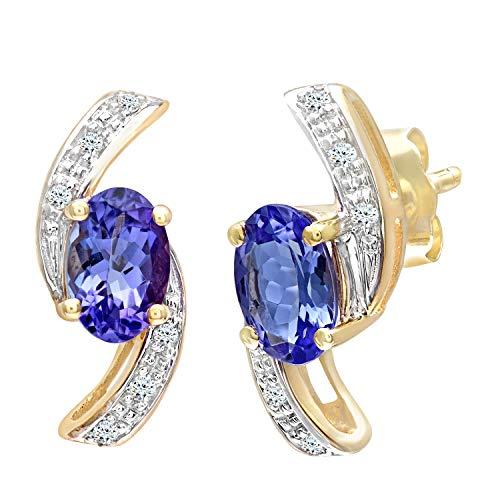 Naava Damen-Ohrhänger 9 Karat Tansanit und Diamant Sförmige Ohrringe 375 Gelbgold teilrhodiniert lila Ovalschliff PE03850Y Tanz