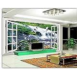 XHXI Papel tapiz 3D Mural personalizado belleza no tejido 3D paisaje de cascada de agua fuera de la ventana co Pared Pintado Papel tapiz Decoración dormitorio Fotomural sala sofá mural-400cm×280cm