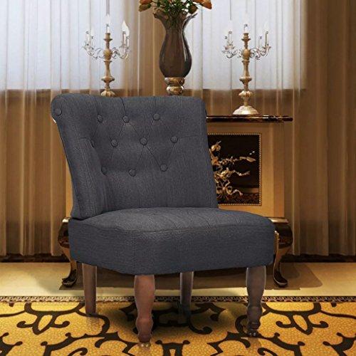 UnfadeMemory Französischer Stuhl Sessel Polsterstuhl Stoffpolsterung Massivholz Holzbeine Whnzimmerstuhl Retro Stuhl Loungesessel 54 x 66,5 x 70 cm (Grau, 1 STK.)