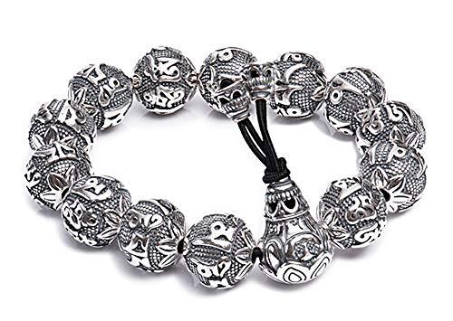 Boeddha Kralen 999 Zilveren Armband, Domineering Retro Punk Armbanden voor Mannen en Vrouwen Paar Punk High-end Lucky Gift Souvenir Sieraden.