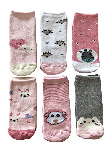 Baby Cotton Socks Lot de 6 paires de chaussettes antidérapantes pour bébé fille en coton coloré doux chaud et original, Fantasia e Modelli Assortiti come da foto, 0-6 mesi
